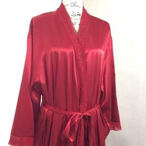 Halston Red Satin Long Belted Robe 2X EUC Rare